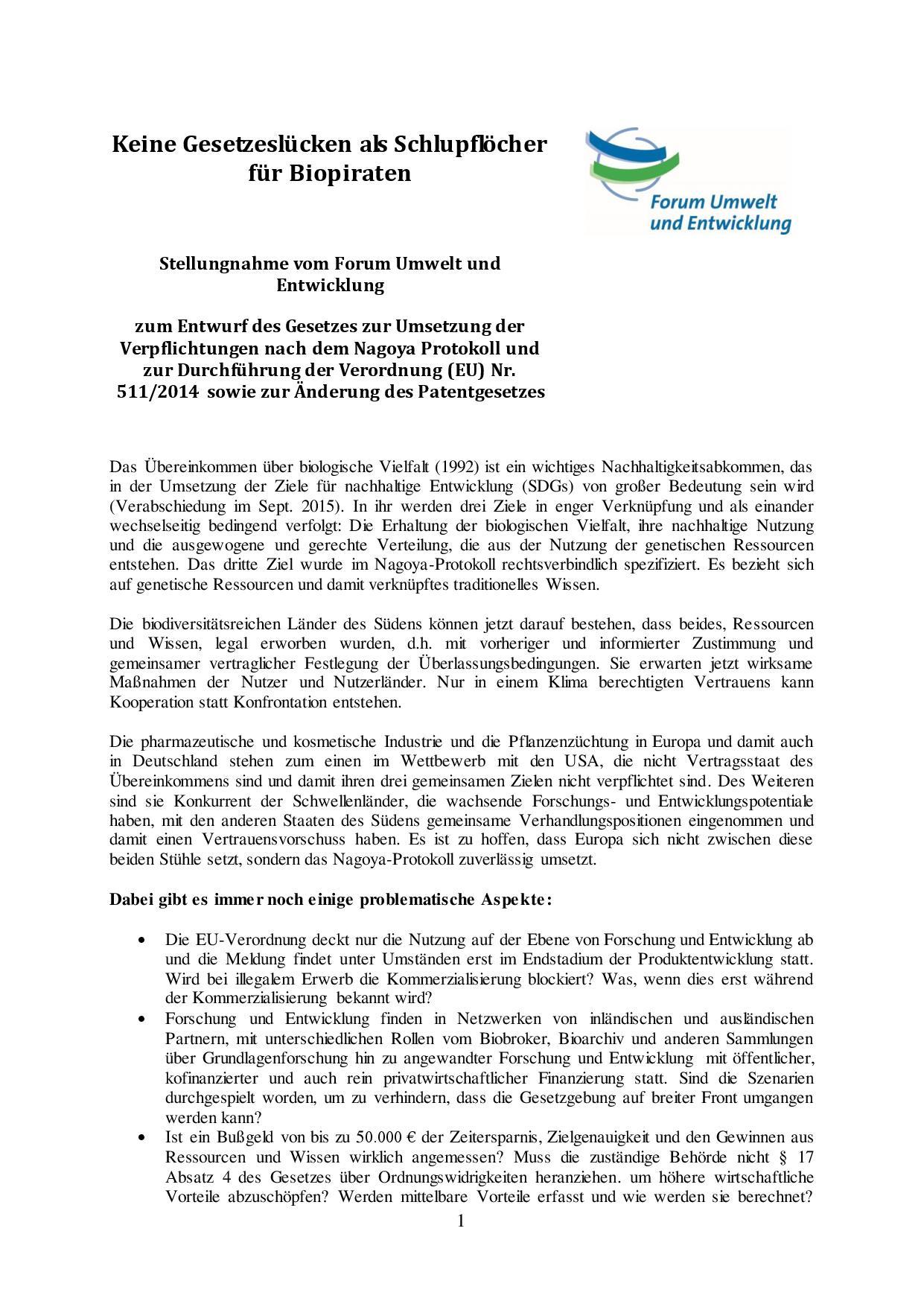 Nagoya Protokoll Stellungnahme Forum Umwelt und Entwicklung-page-001