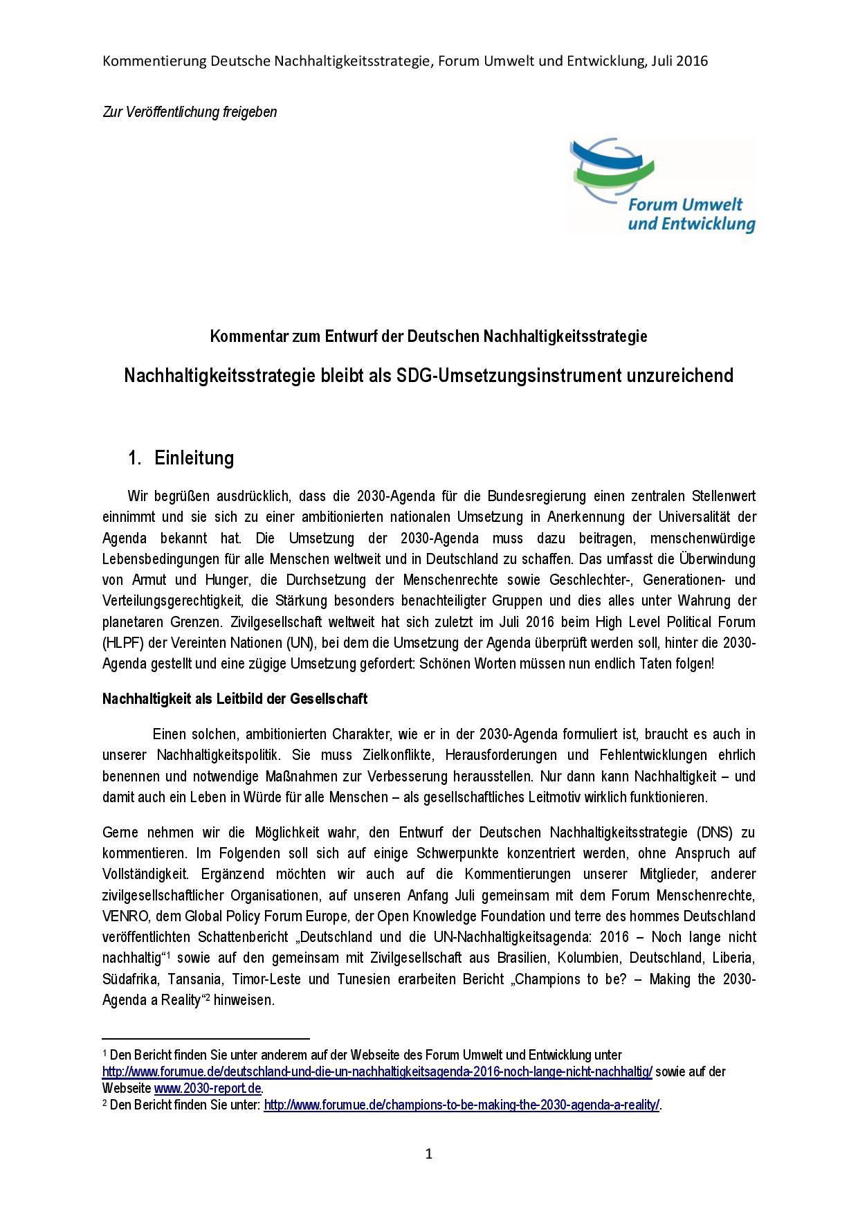Kommentierung Deutsche Nachhaltigkeitsstrategie Forum Umwelt und Entwicklung-23-07-2016-page-001