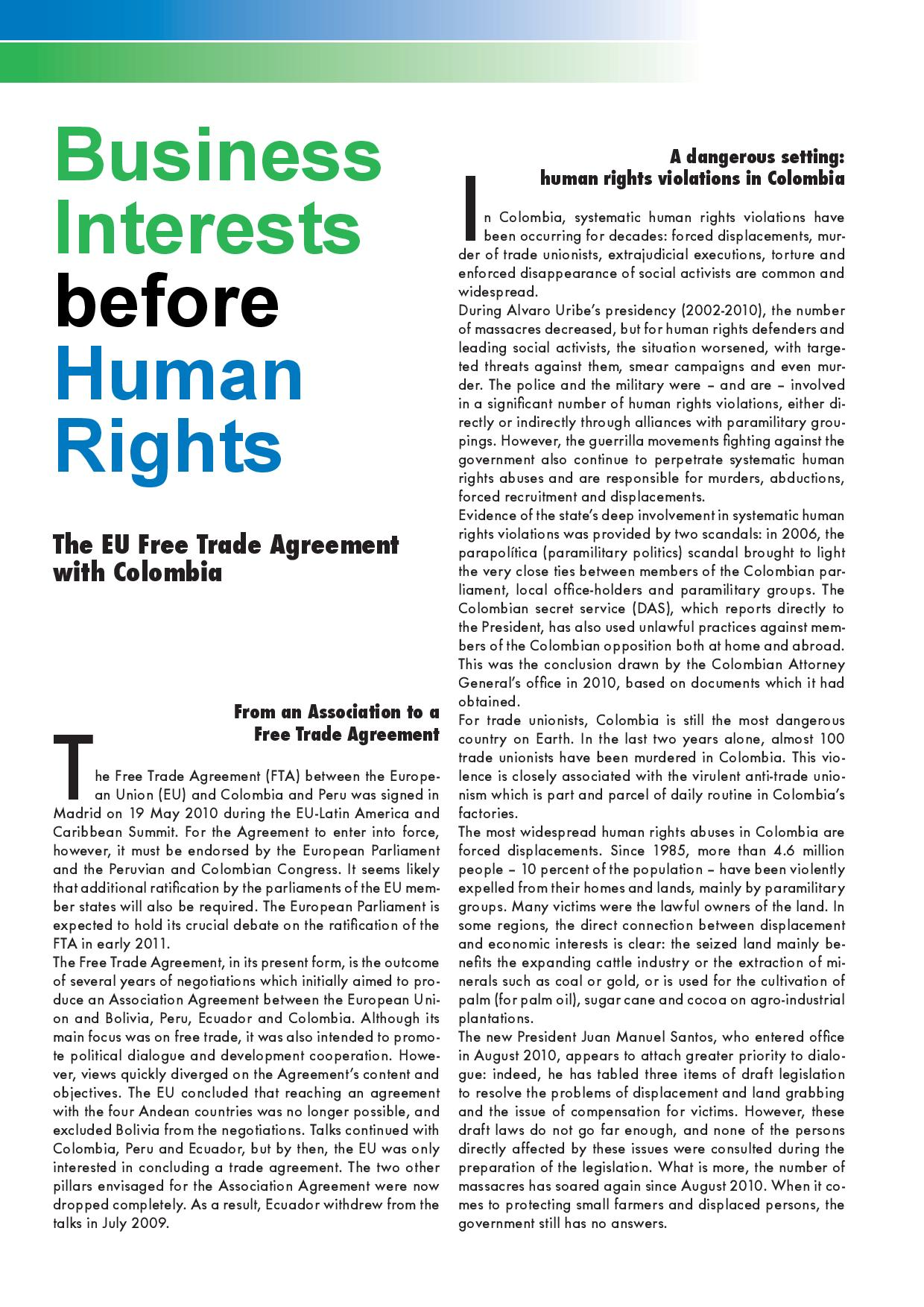 Forum Umwelt Entwicklung Business Interests Before Human Rights